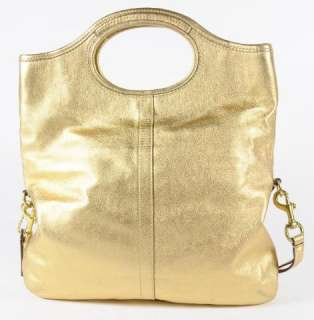 Coach 12250 Metallic Gold Leather Tote Shoulder Bag Convertable Strap