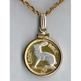 Gorgeous 2 Toned Silver & Gold Bermuda Lily   Coin   Necklaces