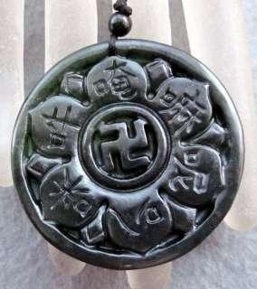 Black Green Jade Tibet Buddhist Lotus Amulet Pendant
