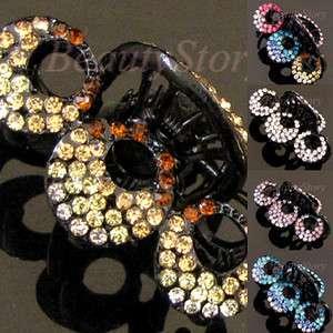 Austrian rhinestone crystal flower hair claw clip