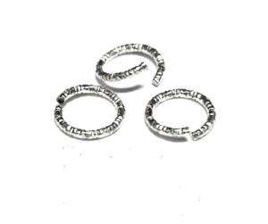 7mm Sterling Silver Glitter Open Jump Rings 50 pcs.