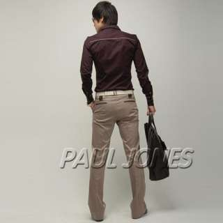 PJ NEW Mens casual shirts slim fit Dress Patched,Buttons Trendy Style