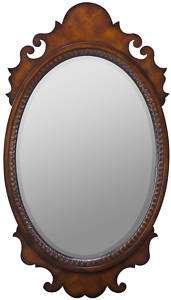 Oval Mahogany Chippendale Vanity/Dresser Mirror 25x44