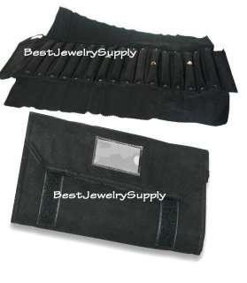 Deluxe Velvet Jewelry Rolls Ring Storage Display Black