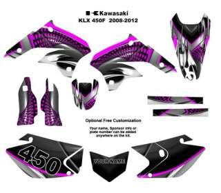 Kawasaki KLX 450R   2008 12 Graphic Decal Kit 7777 PINK