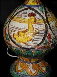 ANTIQUE HAND PAINTED MAJOLICA POTTERY DOLPHIN LAMP