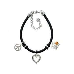 Softball All Star Black Peace Love Charm Bracelet