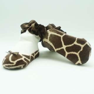 New Born Infant Baby Girls Babies Leopard Shoes Kids Toodler Socks