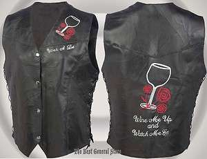 Glass and Roses Black Leather Motorcycle Vest Biker Ladies NEW