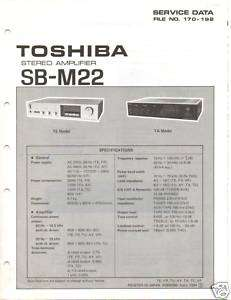 Original Toshiba Service Manual SB M22 Int Amp |