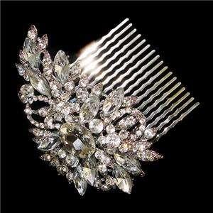 VTG Style Flower Hair Comb Tiara Swarovski Crystal Bridal Oval
