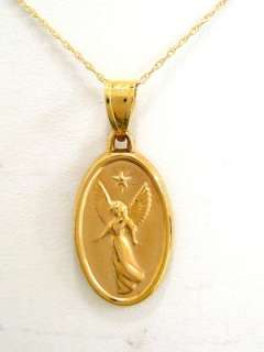 14k Real Yellow Gold Angel Charm Pendant Necklace New