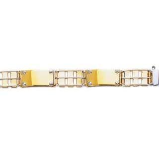 Mens Railroad Screw Bracelet 14K Yellow White Gold 26gr