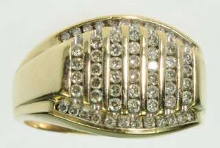 MENS 10K SOLID YELLOW GOLD DIAMOND CLUSTER BAND ESTATE RING J197279
