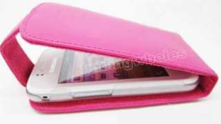 HOT PINK LEATHER CASE COVER SKIN POUCH + PROTECTOR FOR SAMSUNG GALAXY