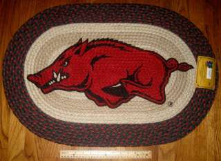 ..Arkansas Razorback 20 x 30 Oval Braided Jute Rug..Go Hogs !!