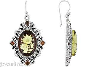 Intaglio & Red Garnet .925 Sterling Silver Dangle Earrings JTV