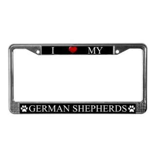 Black I Love My German Shepherd Metal License Plate Frame