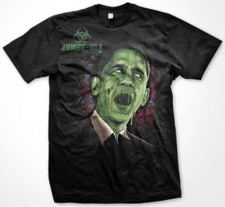 Obama   Zombies Apocalypse Horror Bio Hazard Dark Humor Mens T Shirt