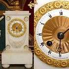 French Carved Alabaster & Gilt Bronze Mantel Clock, Enamel Dial