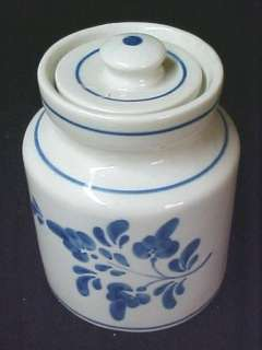 Cookie Jar Canister Cobalt Blue Flower Leaf Signed Hand