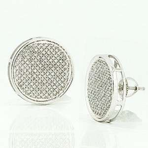 Sterling Silver Real Diamond Pave Disc Mens Hip Hop Iced Stud Earrings
