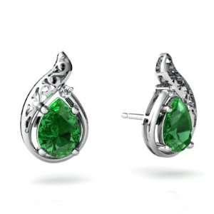 14K White Gold Pear Created Emerald Filligree Earrings Jewelry