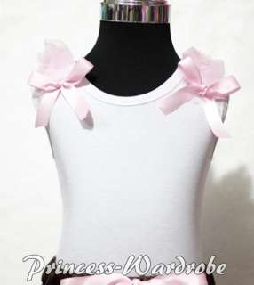 White Pettitop Tank Top with Pink Bows with Various Ruffles 4