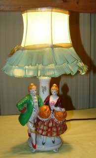 Porcelain Victorian Man Woman Hand Painted Japan Table Lamp
