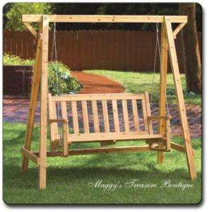 NEW Rustic Pine WOOD Park GARDEN BENCH SWING