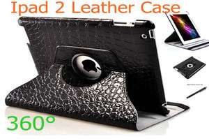 360°Rotating Crocodile PU Leather Case Smart Cover for Ipad2 + Stylus
