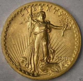 1907 SAINT GAUDENS $20 GOLD DOUBLE EAGLE WIRE RIM VERY RARE HIGH