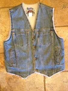 Vintage 80s Levis Jean Vest Sherpa Lined Small Mens
