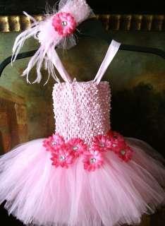 baby tutu dress headband hair bow girl baby pink #01 size newborn up