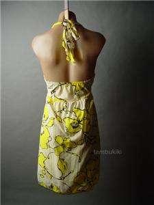 TROPICAL Floral Print Resort Halter Tie Sun Dress S