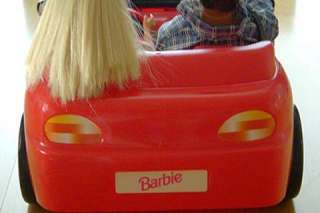 FUN Red toy CONVERTIBLE SPORTS CAR with BARBIE & KEN DOLLS by Mattel