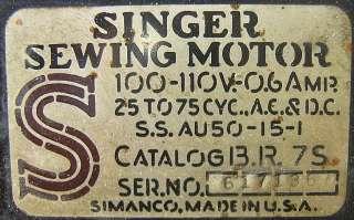 ANTIQUE 1940S SIMANCO SINGER SEWING MACHINE & CABINET