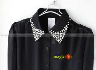 Women Fashion Vintage Chiffon Leopard Collar Shirt Top Black White New