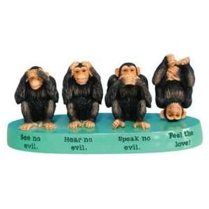 See no Evil, Speak No, Hear No Evil Monkey Feel the Love