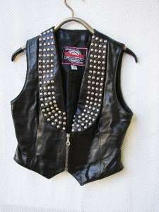 black leather Jacket Vest Chaps motorcycle biker womens M
