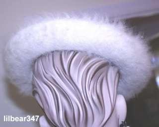 LADIES vintage EARLY MR. JOHN HAT ivory ANGORA brim SAUCER shape STRAP
