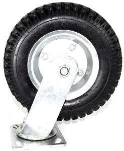 Heavy Duty 8 Air Tire Swivel Base Caster Wheels Bearings New Set