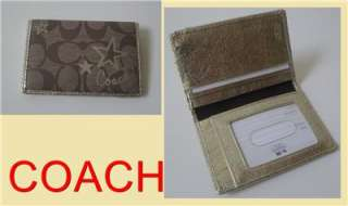 COACH HERITAGE STAR KHAKI/GOLD CARD CASE/ID/WALLET NWT GIFT