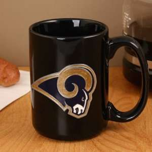 St. Louis Rams Pewter Logo Black Ceramic 15 oz. Coffee Mug