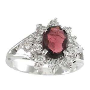 NEW 925 Sterling Silver CZ Genuine Red Garnet Ring Jewelry