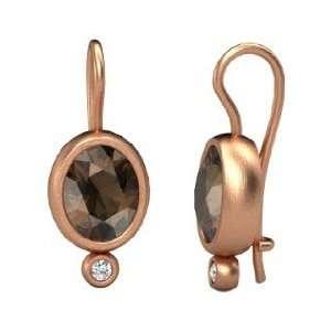 Amphora Earrings, Oval Smoky Quartz 14K Rose Gold Earrings