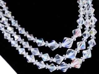 Vintage Aurora Borealis Crystal Necklace Triple Strand 1950S