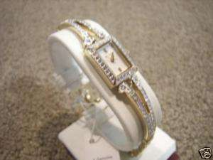 Elgin Womens Austrian Crystal Accented Gold Tone Watch