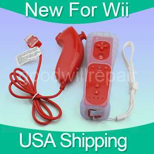 Red Nunchuck and Remote Controller Set For Nintendo Wii