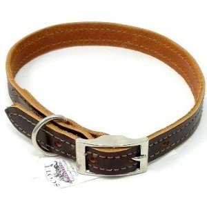 Scott Stitched Leather Dog Collar, Brown, 18 x 3/4